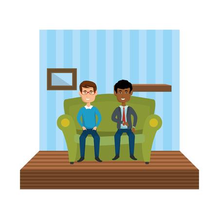 couple of men sitting in the sofa vector illustration design