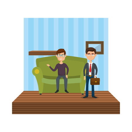 couple of men sitting in the sofa vector illustration design