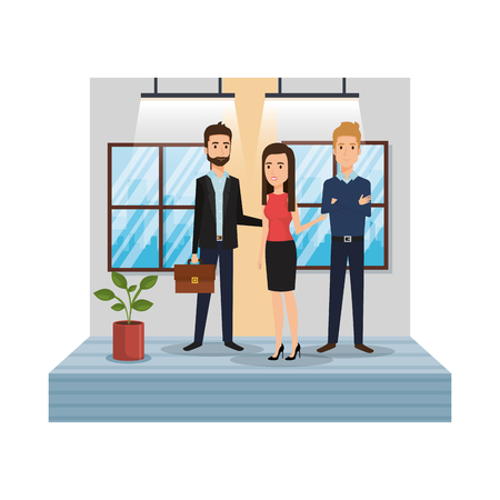 group of business people in the office corridor vector illustration design