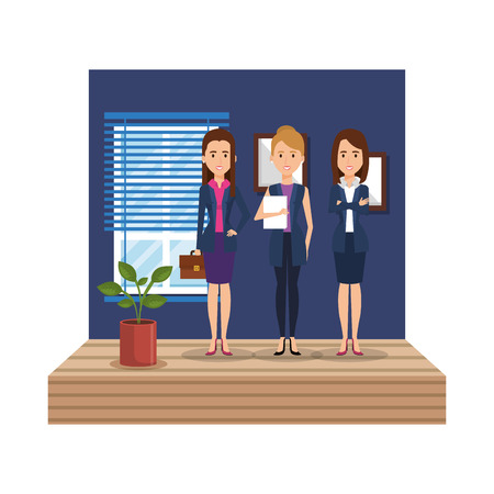 group of businesswomen in the office corridor vector illustration design