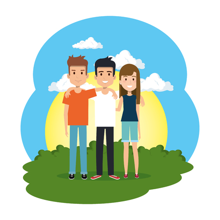group of people in the camp vector illustration design