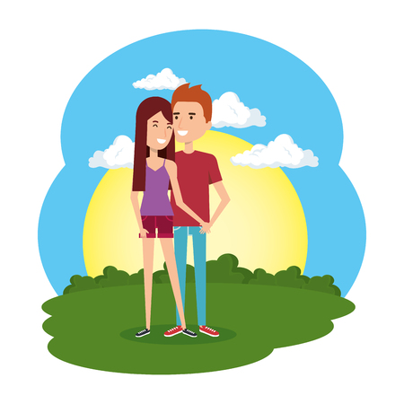 lovers couple in the camp scene vector illustration design