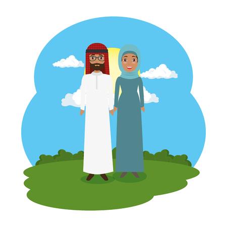 arabian couple in the landscape vector illustration design