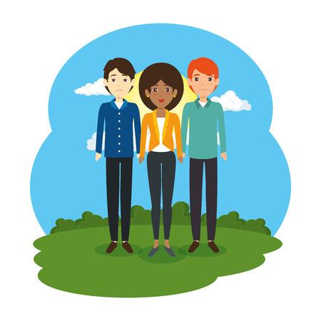 group of business people in the landscape vector illustration design