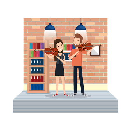 young couple playing instruments in the house vector illustration design Stock Illustratie