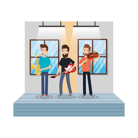 young men playing in the house vector illustration design Stock Illustratie