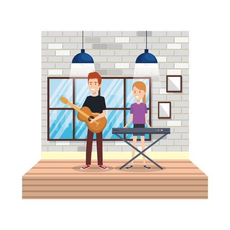 young couple playing instruments in the house vector illustration design Illustration