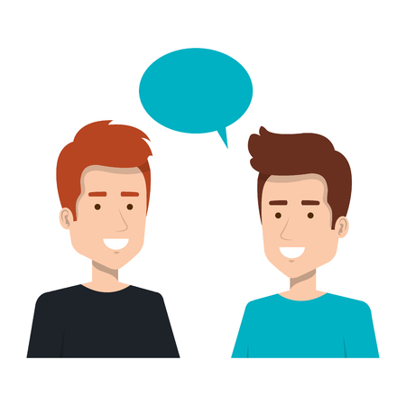 couple of men with speech bubble vector illustration design
