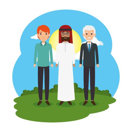 Arabe con empresarios en la escena del paisaje, diseño de ilustraciones vectoriales Ilustración de vector