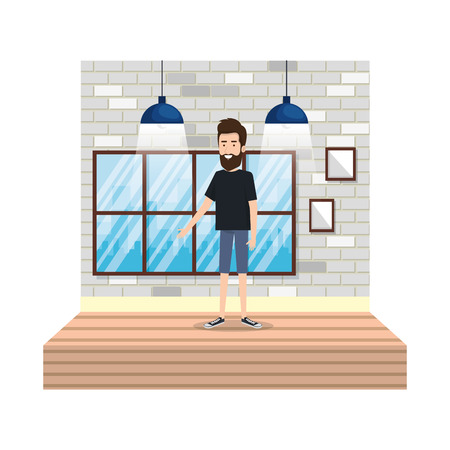 young man with beard in corridor house vector illustration design Illustration