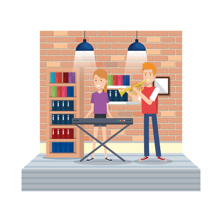 young couple playing instruments in the house vector illustration design Archivio Fotografico - 126381474