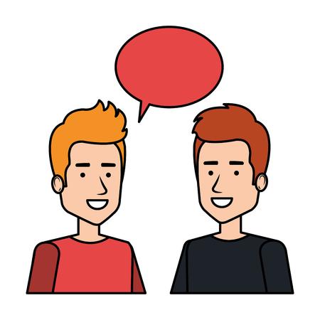 couple of men with speech bubble vector illustration design Stock fotó - 126381499