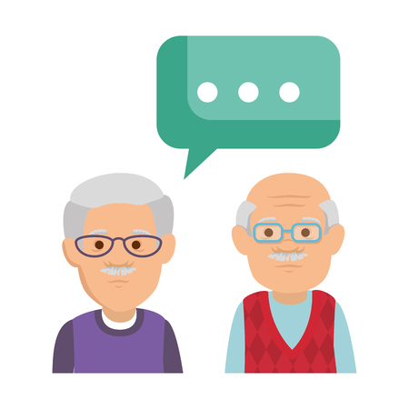 cute grandfathers with speech bubble vector illustration design