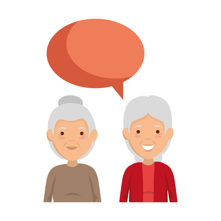 cute grandmothers couple with speech bubble vector illustration design