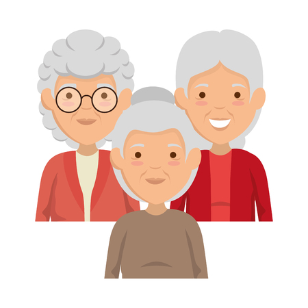 group of cute grandmothers avatars characters vector illustration design