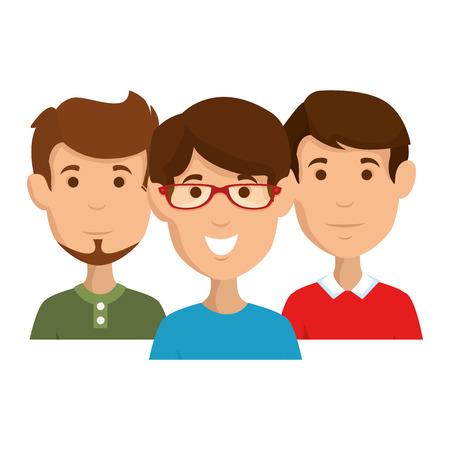 group of men avatars characters vector illustration design Ilustração
