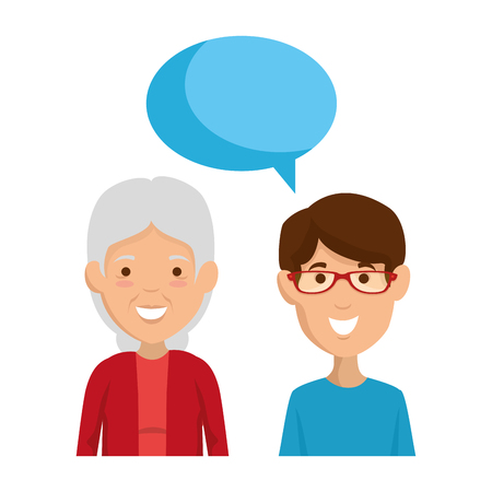 cute grandmother and son talking vector illustration design