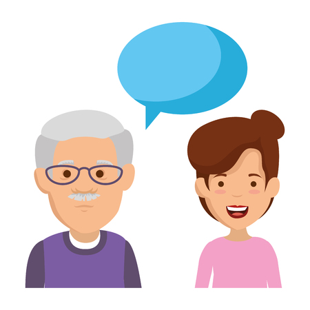 cute grandfather and daughter with speech bubble vector illustration design