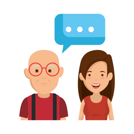 cute grandfather and daughter with speech bubble vector illustration design Иллюстрация