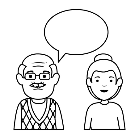 cute grandfather and daughter with speech bubble vector illustration design Illustration