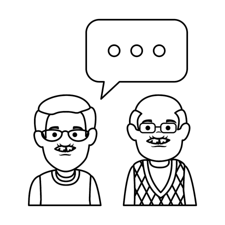 cute grandfathers with speech bubble vector illustration design Фото со стока - 126381585