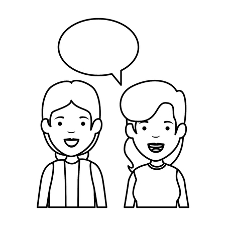couple of girls with speech bubble vector illustration design 일러스트