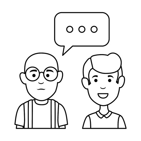 cute grandfather and son with speech bubbles vector illustration design Banque d'images - 126381607