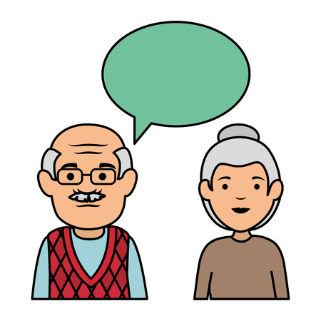 cute grandparents couple with speech bubble vector illustration design