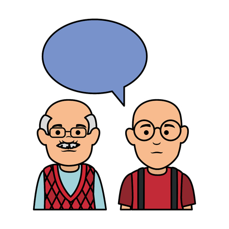 cute grandfathers with speech bubble vector illustration design