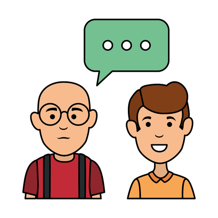 cute grandfather and son with speech bubbles vector illustration design