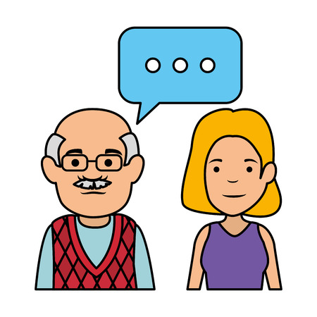 cute grandfather and daughter with speech bubble vector illustration design 일러스트
