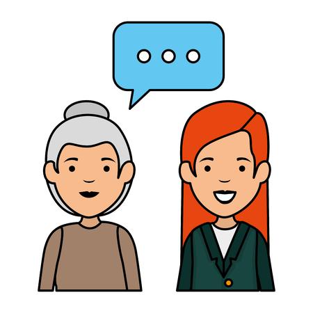 cute grandmother and daughter talking vector illustration design Illustration