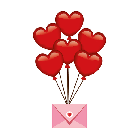 Umschlag mit Herz-Symbol-Vektor-Illustration-Design