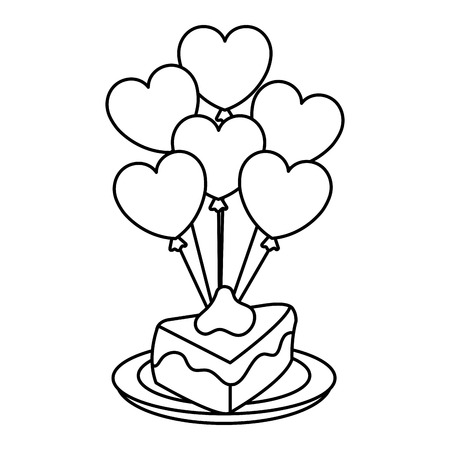 Heart shaped party balloons with cake portion vector illustration design