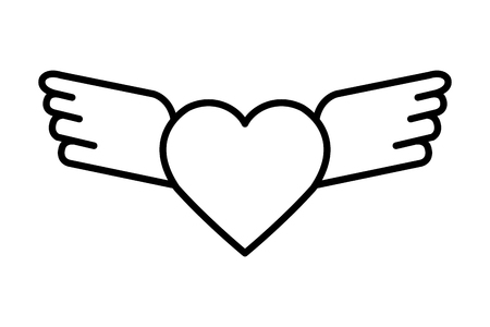 heart love with wings flying vector illustration design