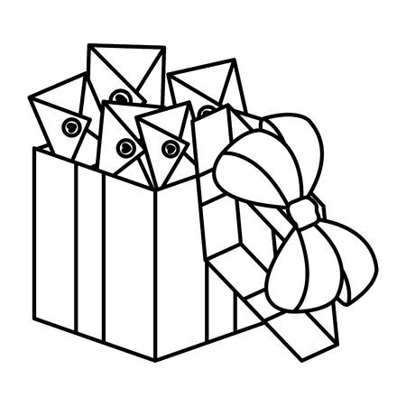 envelopes with heart in giftbox vector illustration design Vektorgrafik