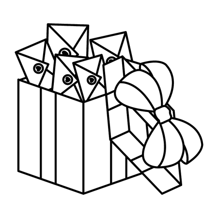 envelopes with heart in giftbox vector illustration design Illustration