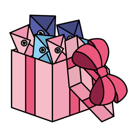 buste con cuore in confezione regalo illustrazione vettoriale design Vettoriali