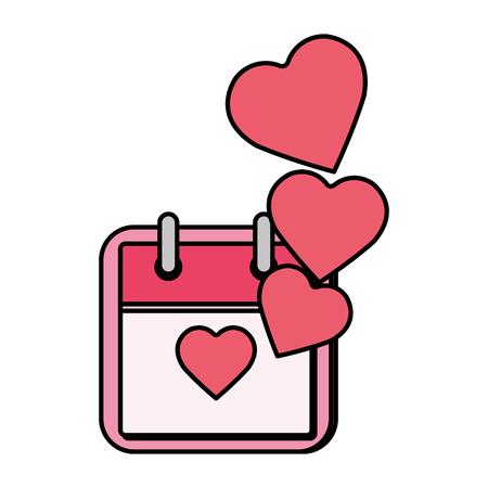 calendar with hearts love vector illustration design