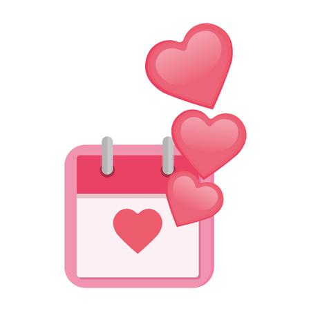 Calendario con corazones amor, diseño de ilustraciones vectoriales