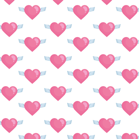 heart love with wings flying pattern vector illustration design
