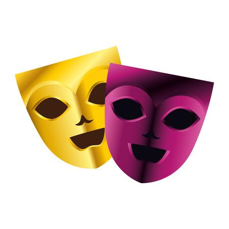 Máscaras de teatro y carnaval, diseño de ilustraciones vectoriales Ilustración de vector