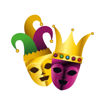 theater masks with harlequin hat and crown vector illustration design