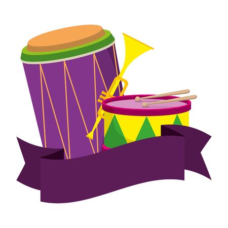 carnival instruments with ribbon vector illustration design