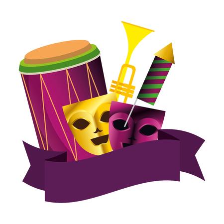 Máscaras de teatro con instrumentos y fuegos artificiales, diseño de ilustraciones vectoriales
