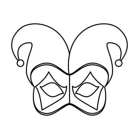 carnival mask with harlequin hat vector illustration design Illustration