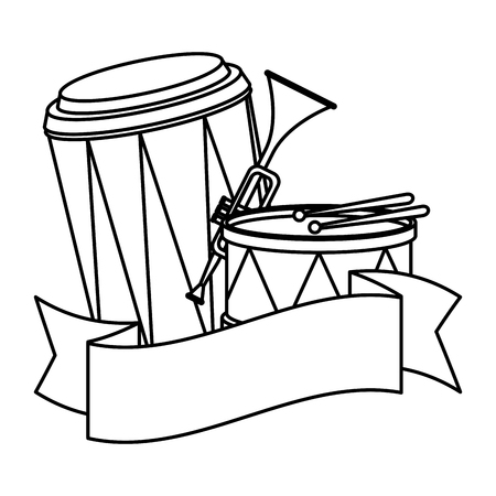 carnival instruments with ribbon vector illustration design