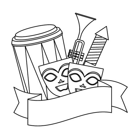 theater masks with instruments and fireworks vector illustration design