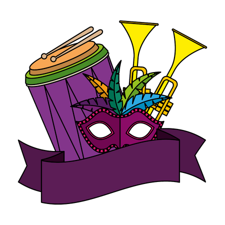 carnival mask with feathers and musical instruments vector illustration design