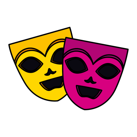 theater and carnival masks vector illustration design